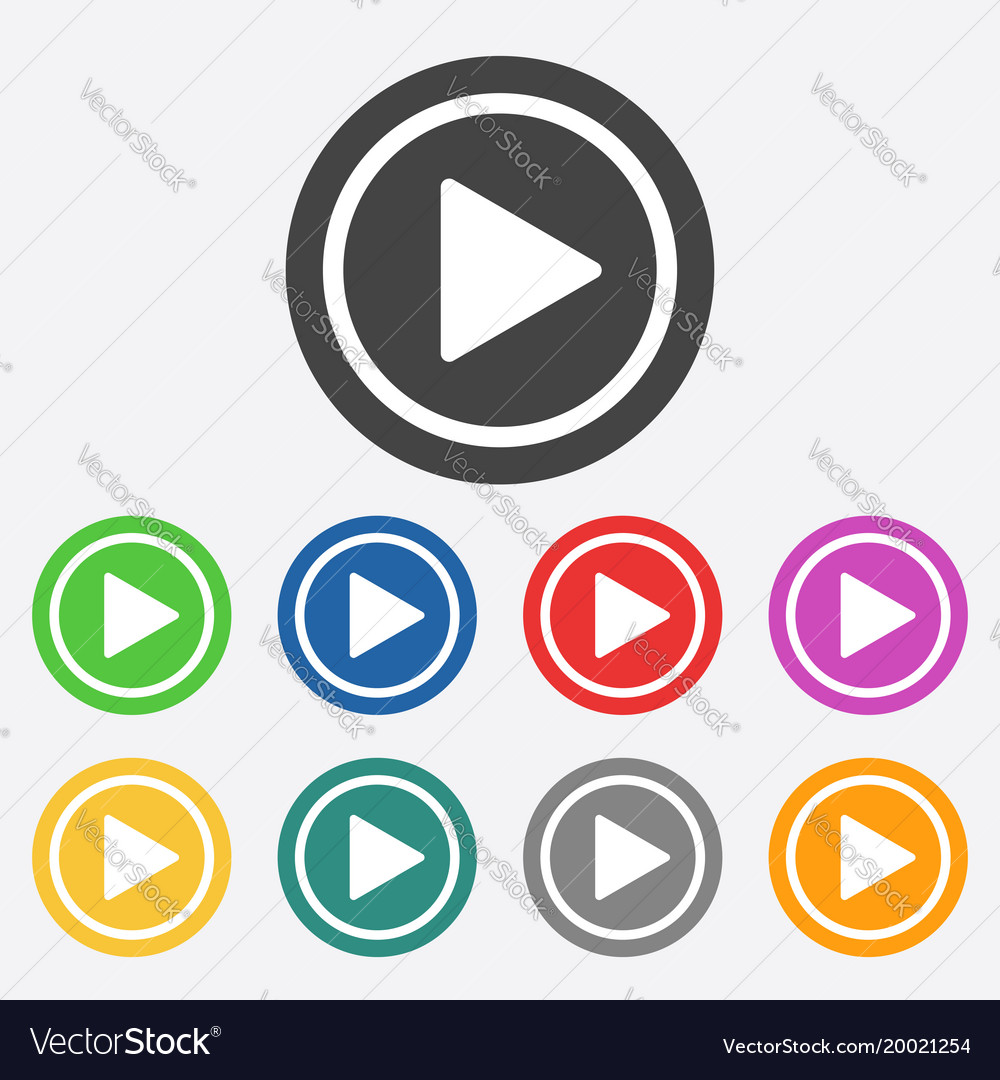Play button web icon flat