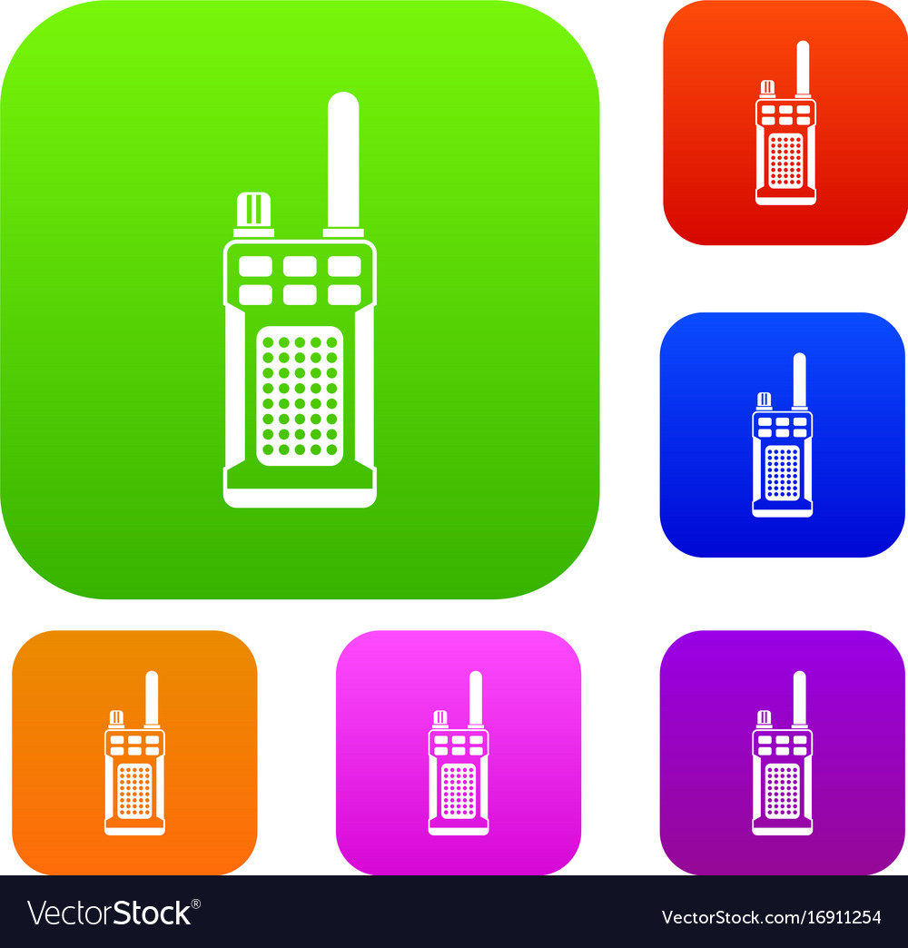 Portable handheld radio set collection vector image