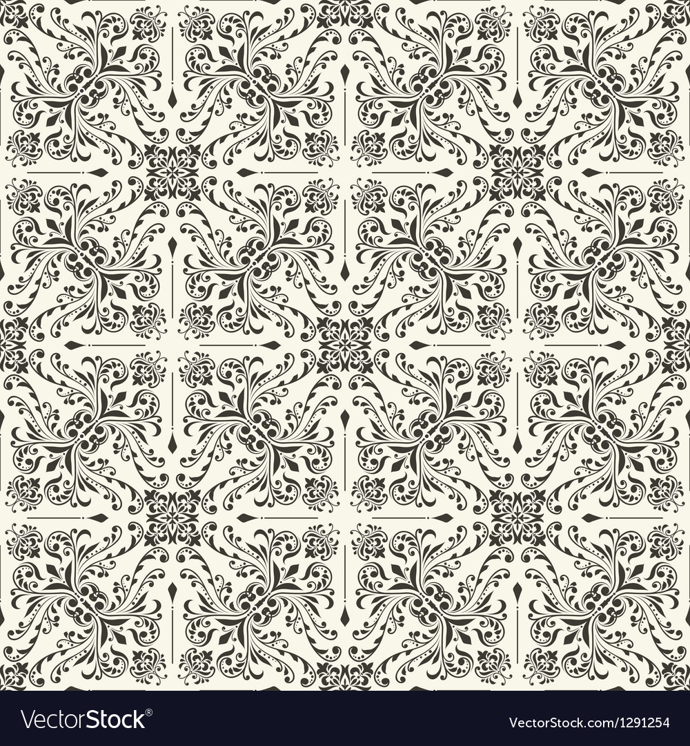 Seamless Vintage Floral Wallpaper Royalty Free Vector Image