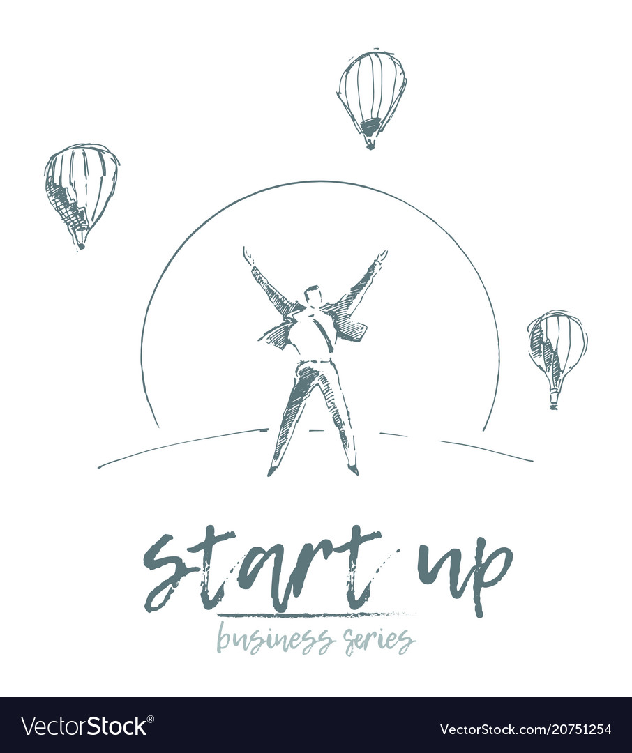 Start up concept businessman rising sun