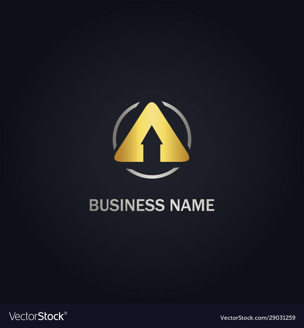 Arrow up triangle gold logo