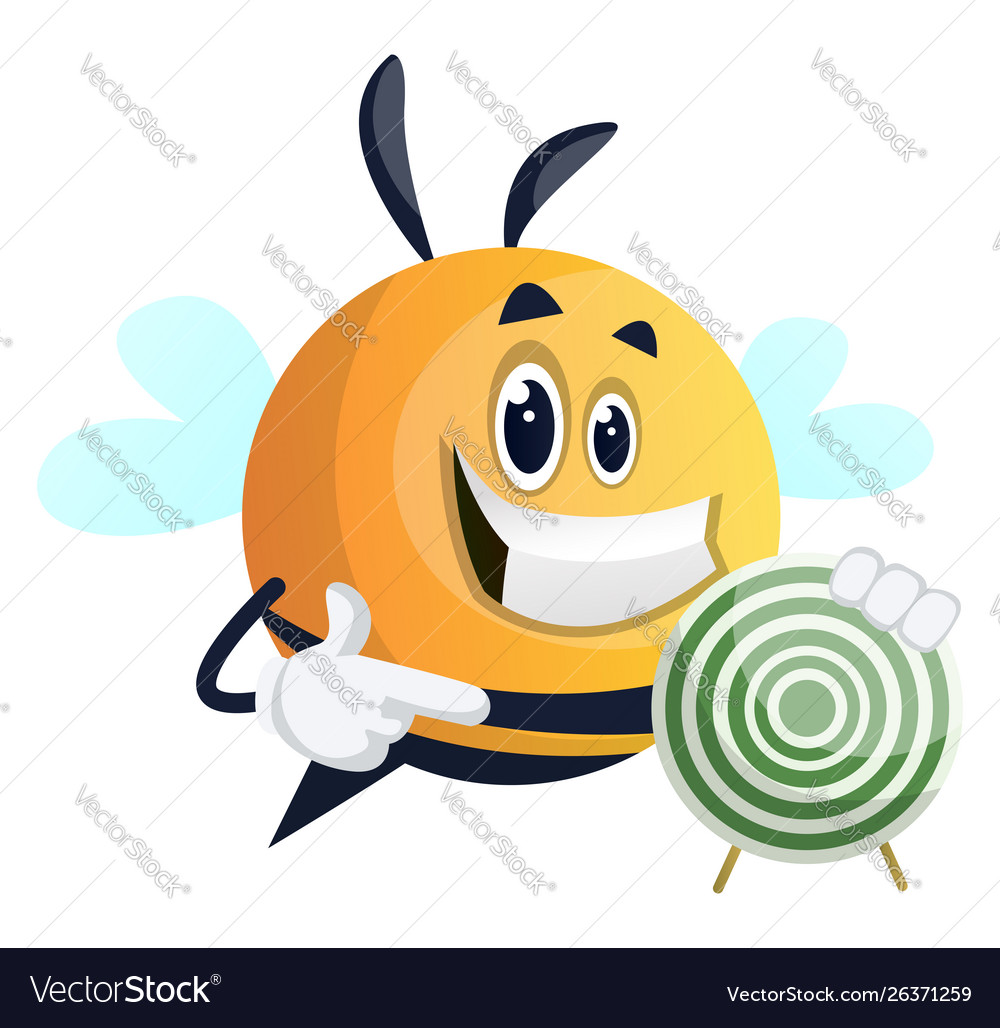 Bee showing target on white background