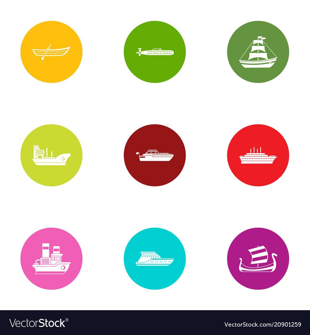 Boat way icons set flat style
