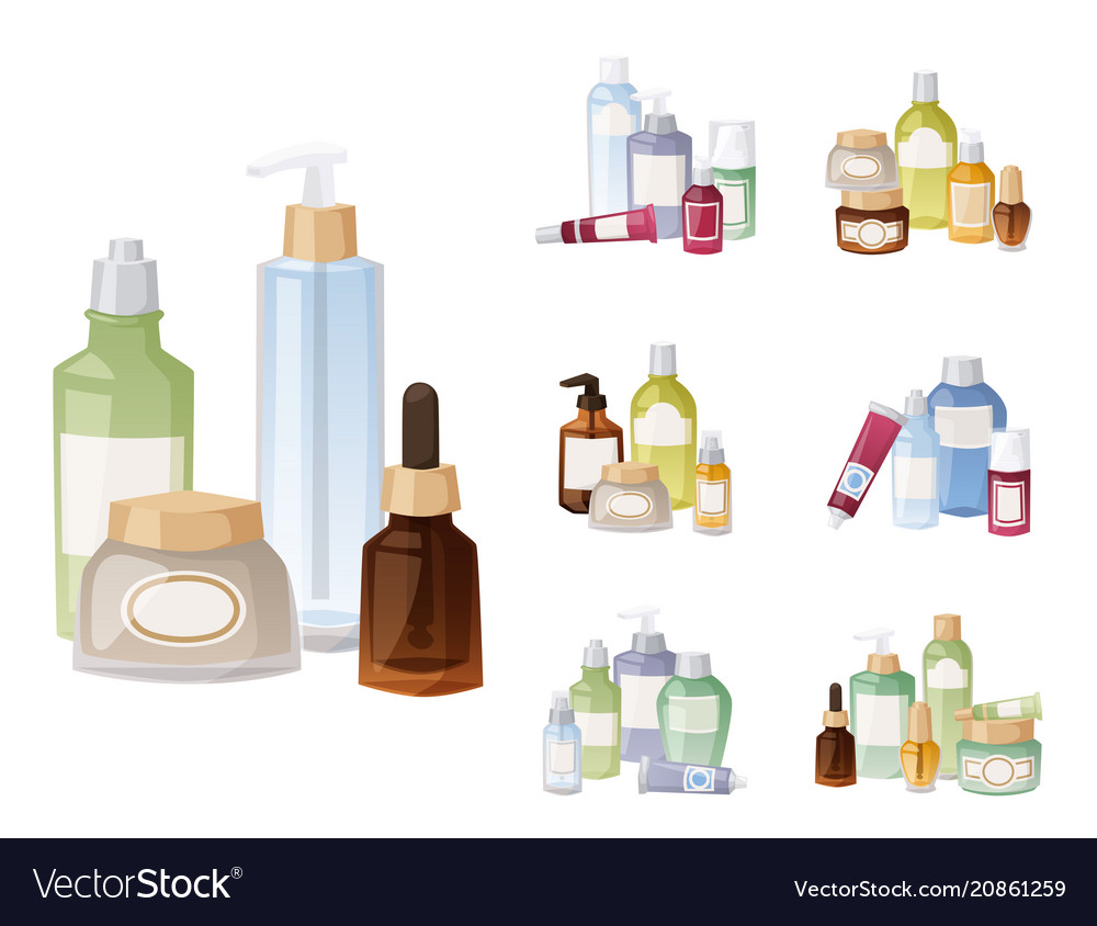 Bottles of cosmetic cosmetology lotion makeup