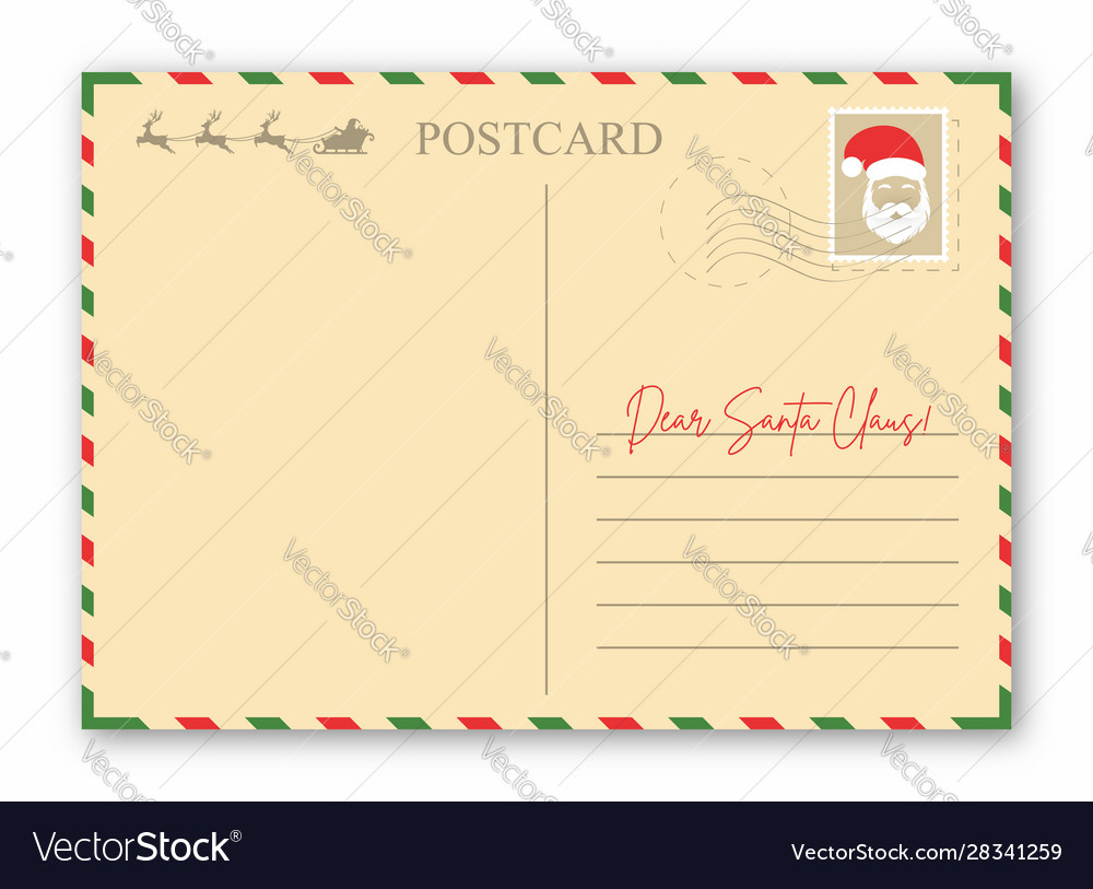 Christmas letter to santa claus vintage envelope