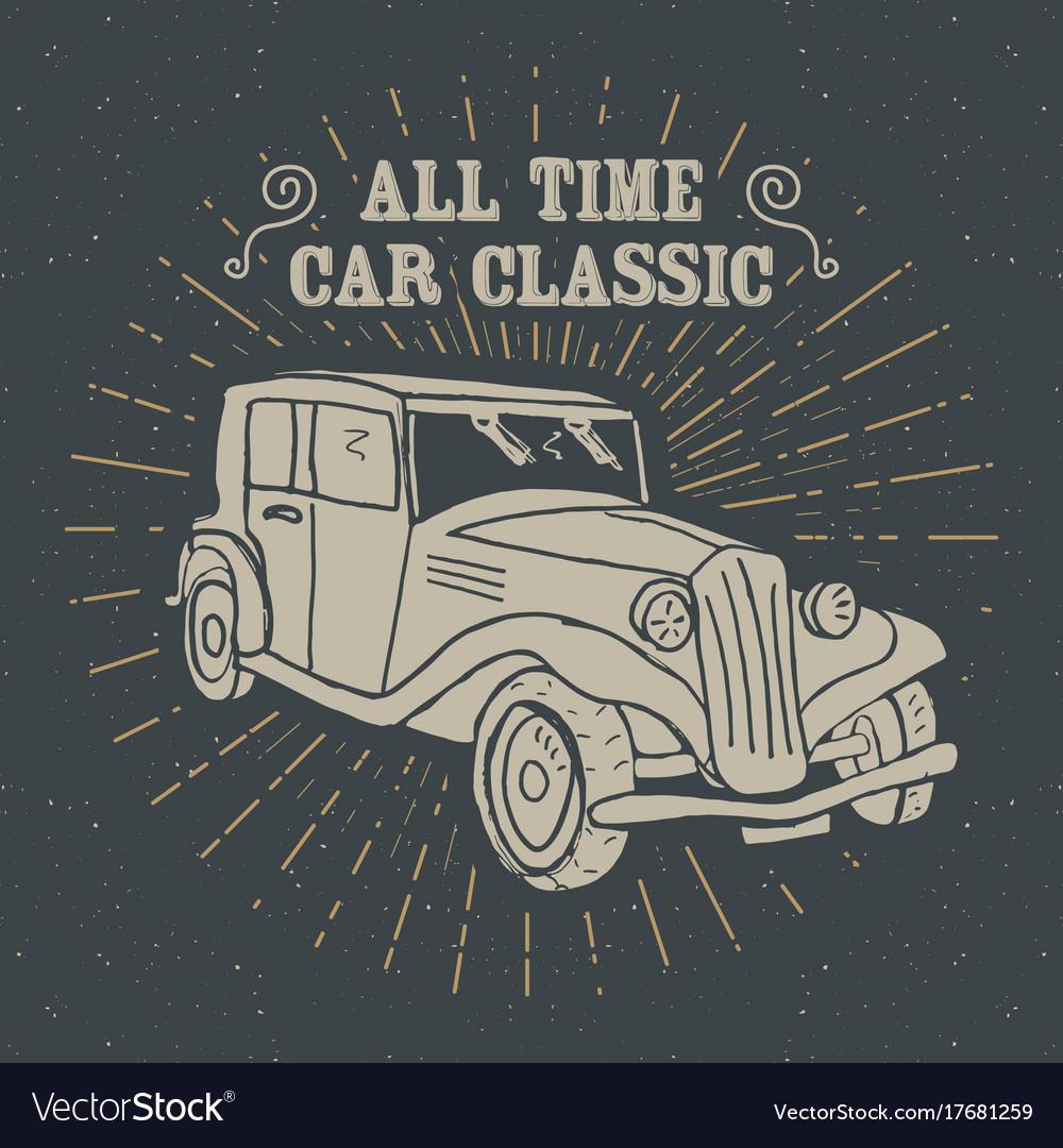 Classic car vintage label hand drawn sketch