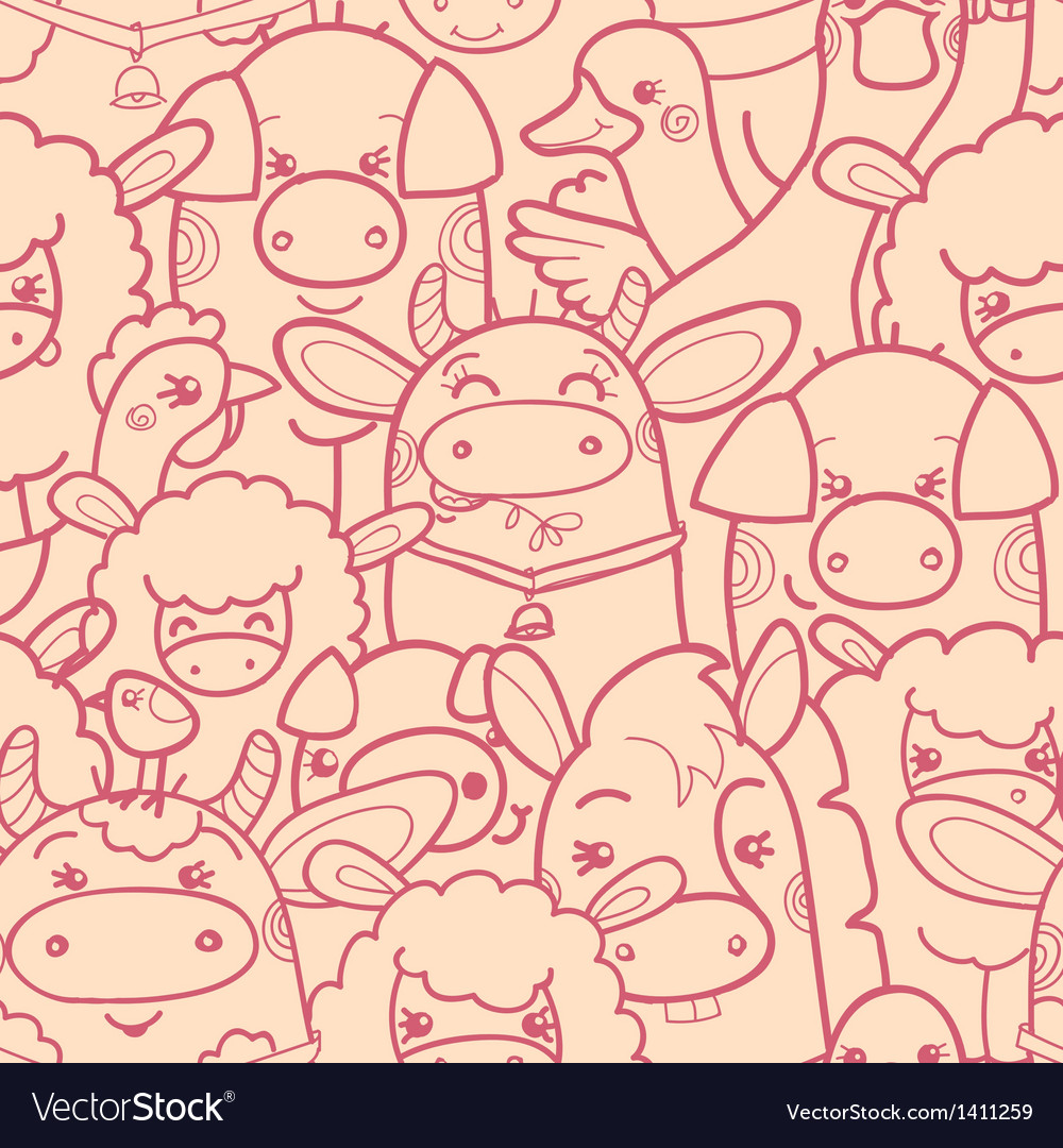 Cute farm animals seamless pattern background