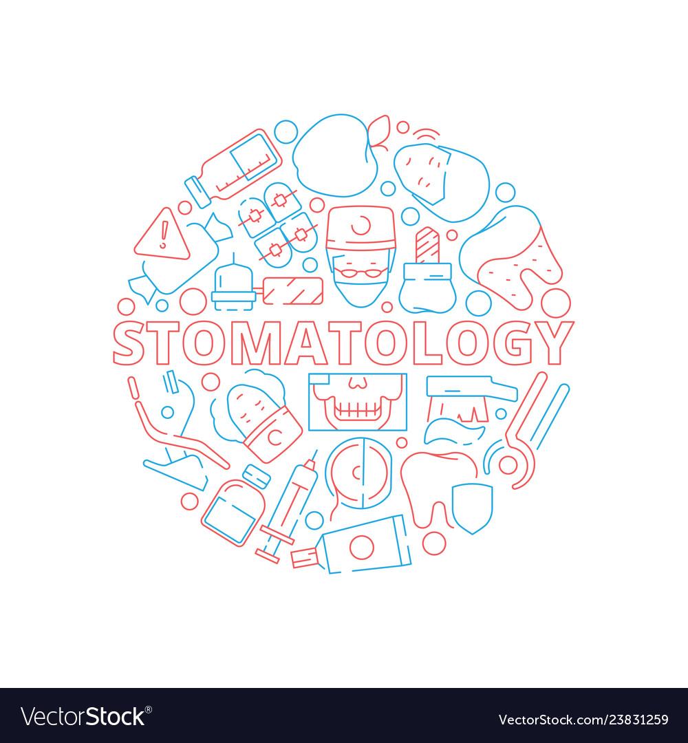 Dental icons set circle shape with stomatology