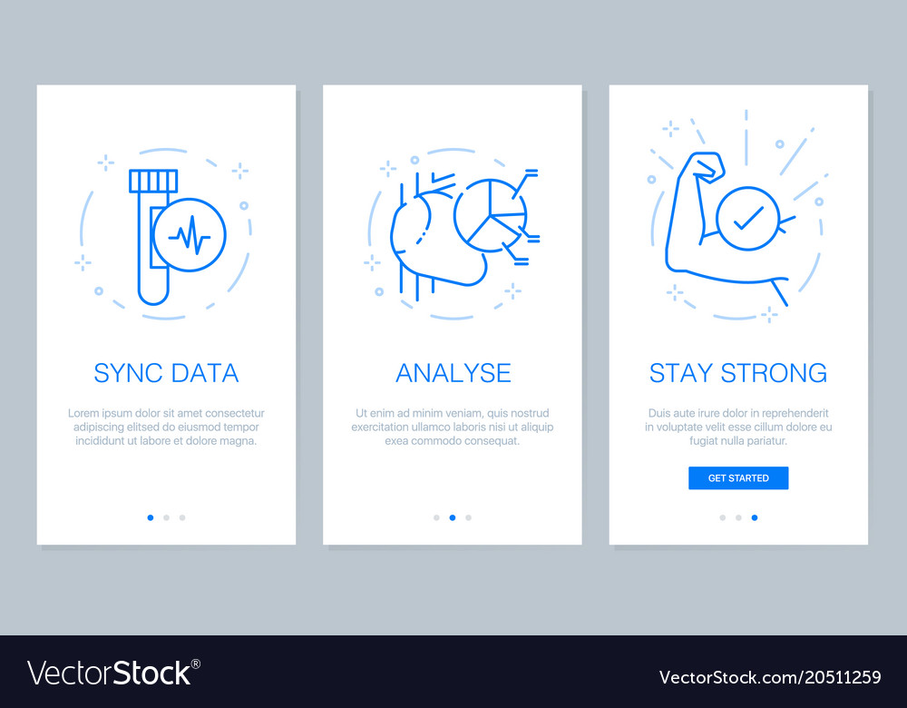 Health and medical concept onboarding app screens