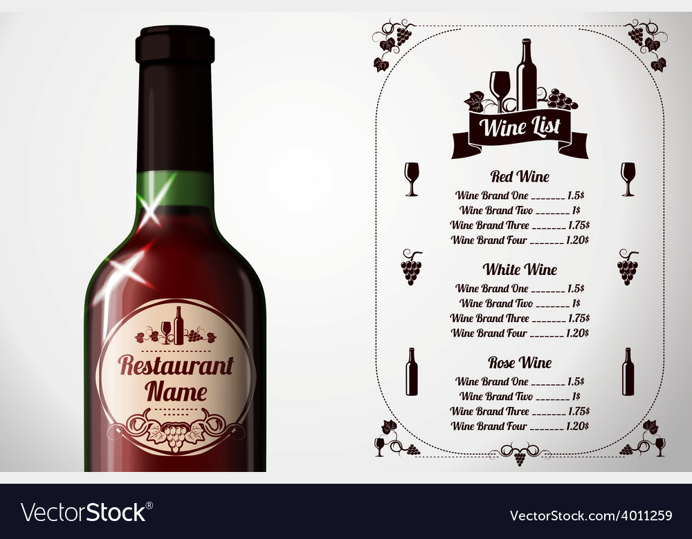 Menu template - for alcohol with realistic red