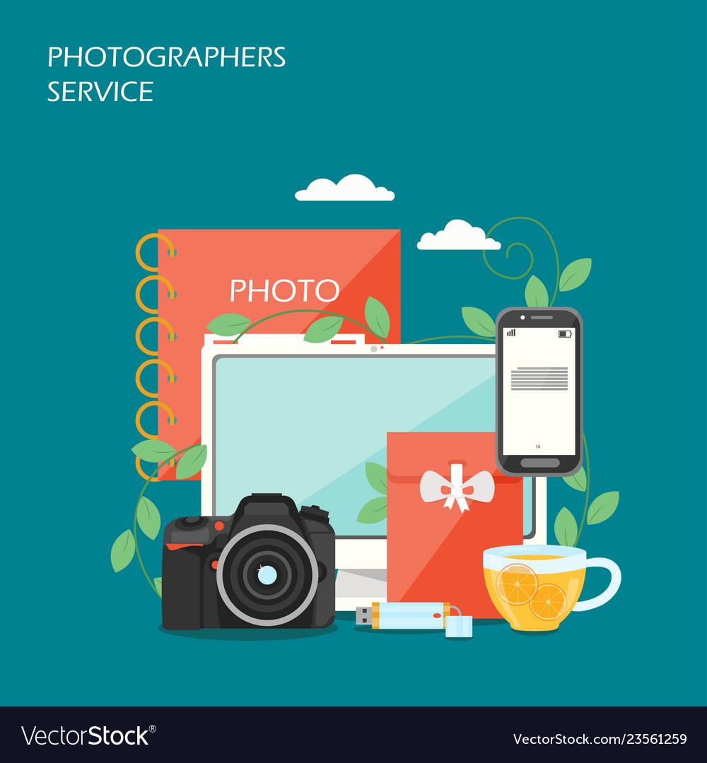 Photographers service flat style design