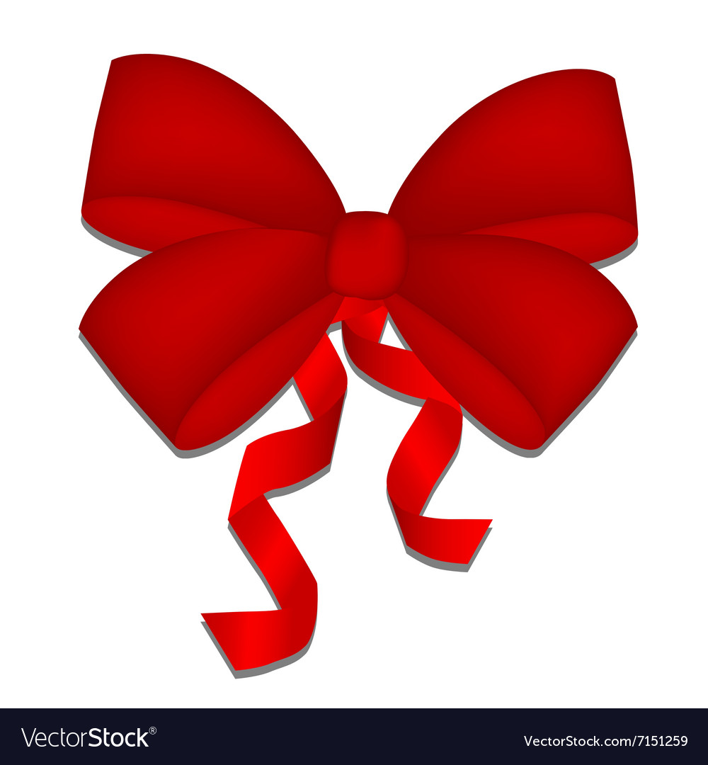 Realistic beautiful red bow isolated on white