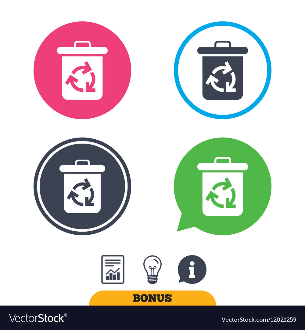 Recycle bin icon Reuse or reduce symbol vector image