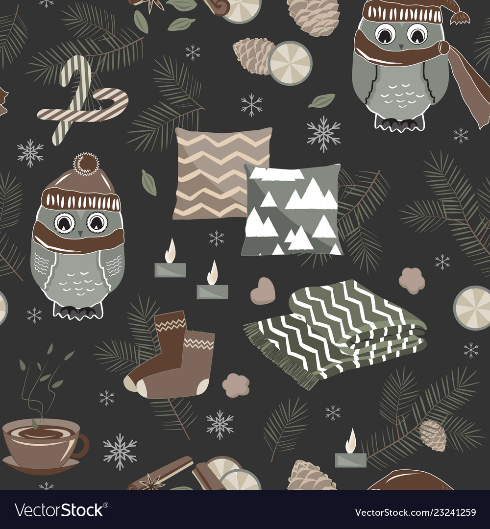 Seamless pattern with cute sport owls and