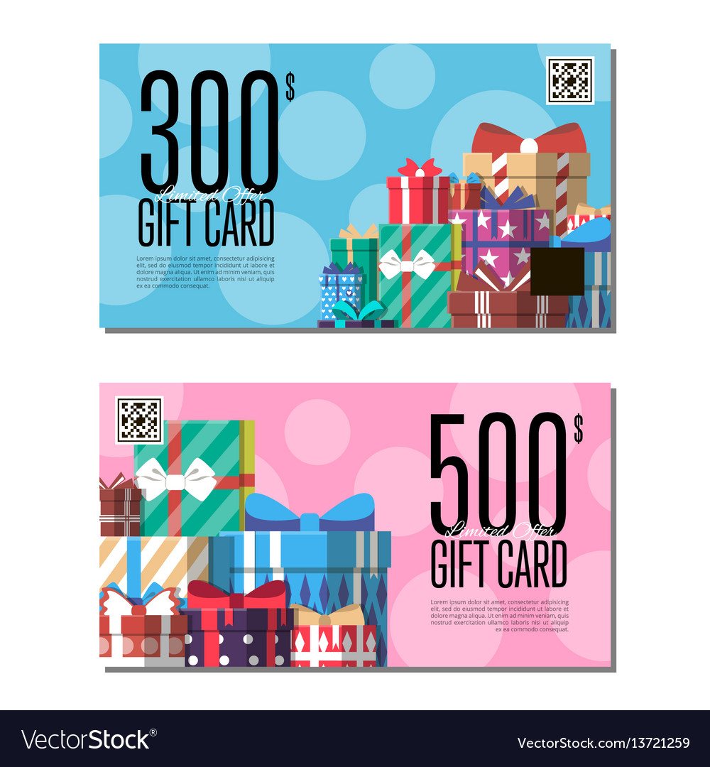 shopping certificate template set with gift box vector image