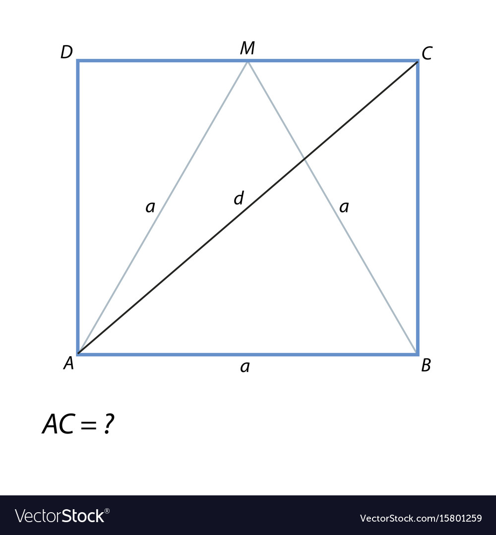 Task of finding a diagonal rectangle abcd vector image