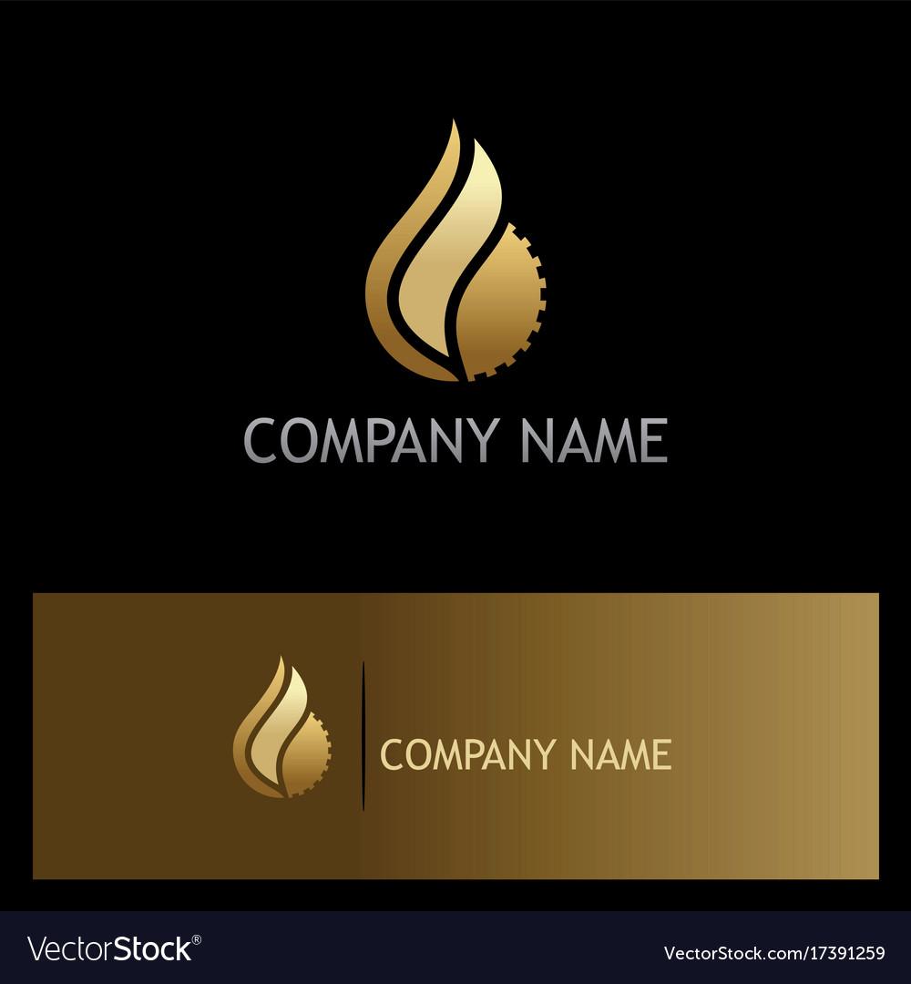 Water drop gear gold logo