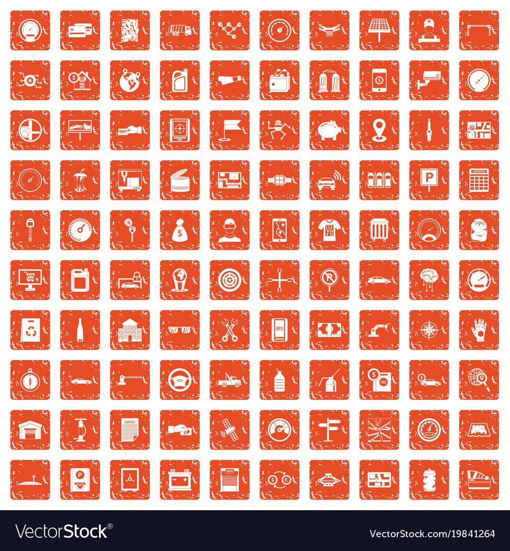 100 auto repair icons set grunge orange