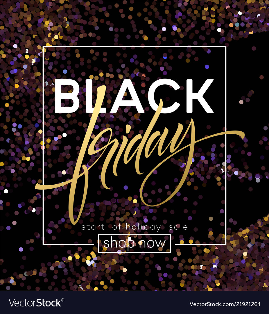 Black friday poster template with glitter