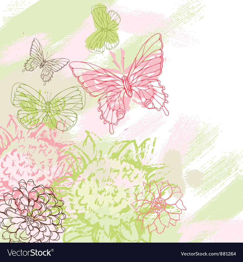Colorful grunge background with butterfly