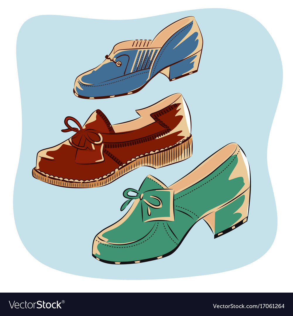 Colorful retro vintage shoes isolated