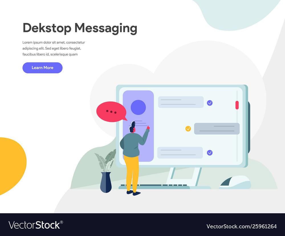 Desktop messaging concept modern flat design