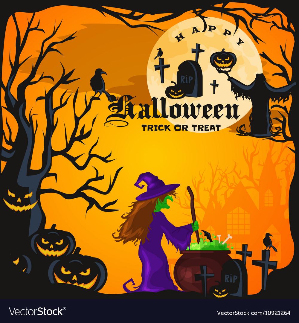 Halloween night background with pumpkin full moon