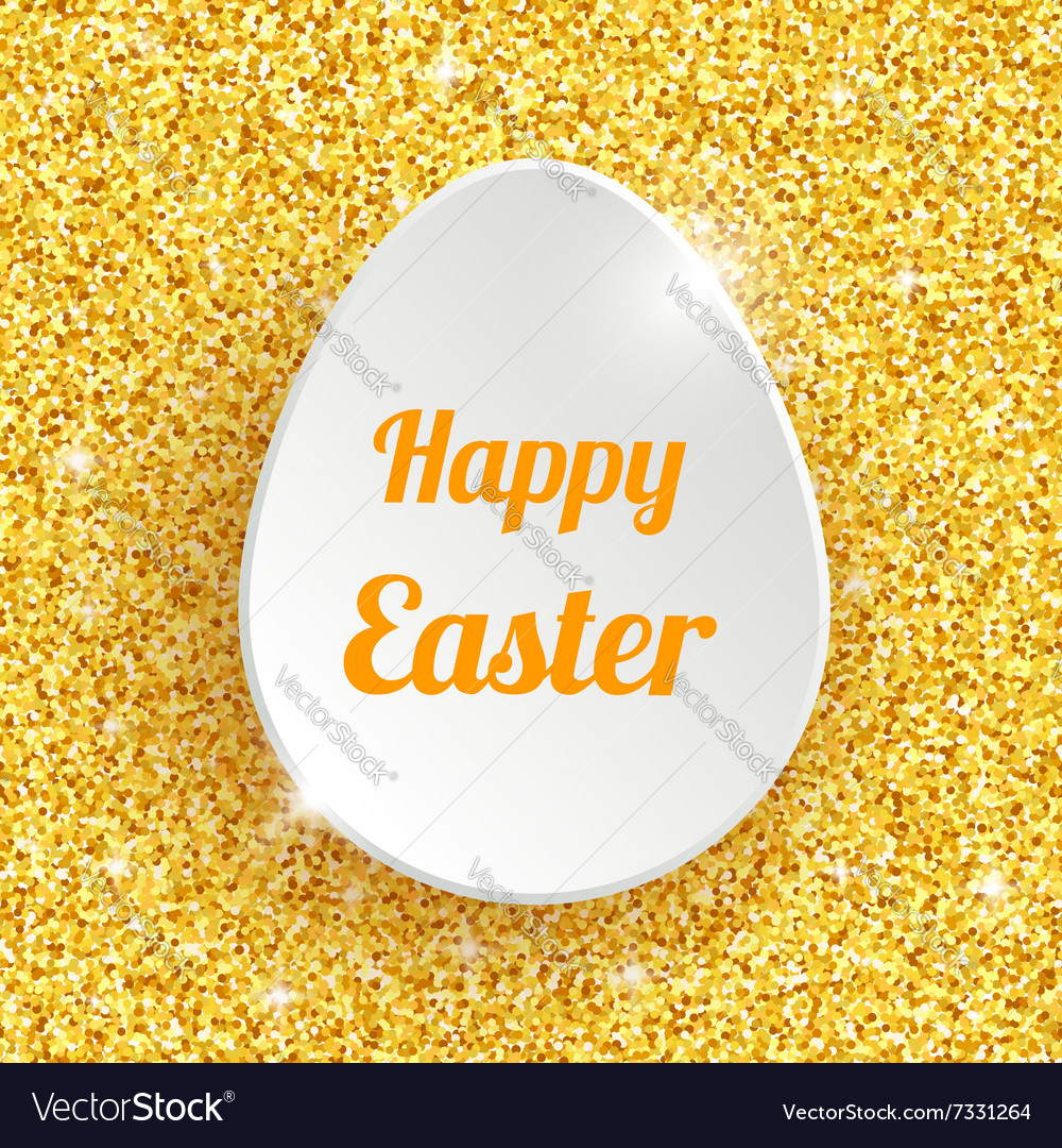 Happy Easter Greeting Card with 3d White Paper Egg