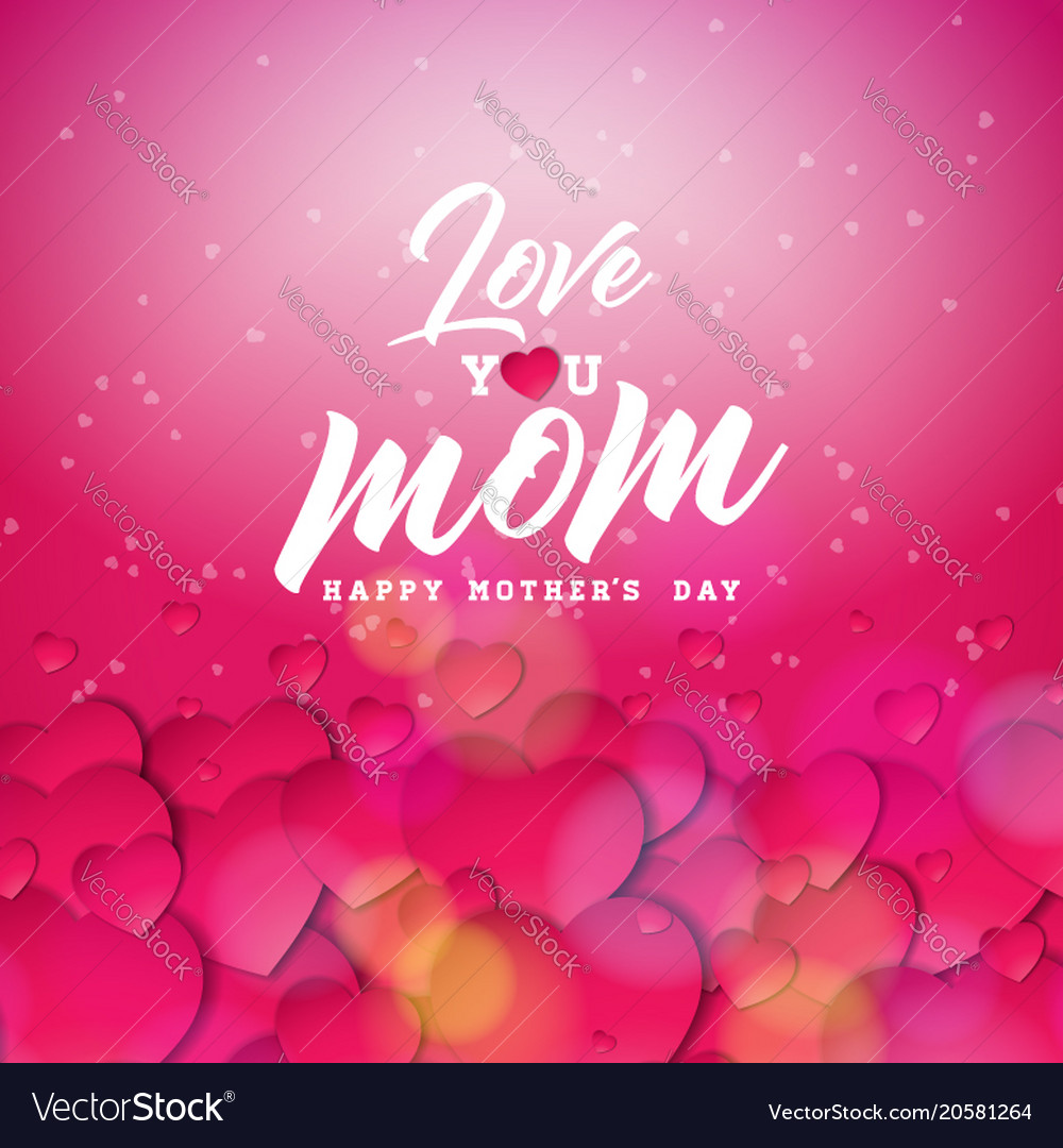 Happy mothers day greeting card design with heart vector image m4hsunfo
