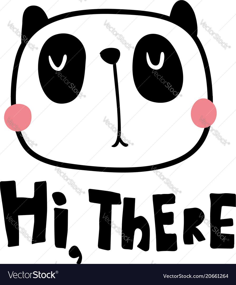 hi there panda royalty free vector image vectorstock