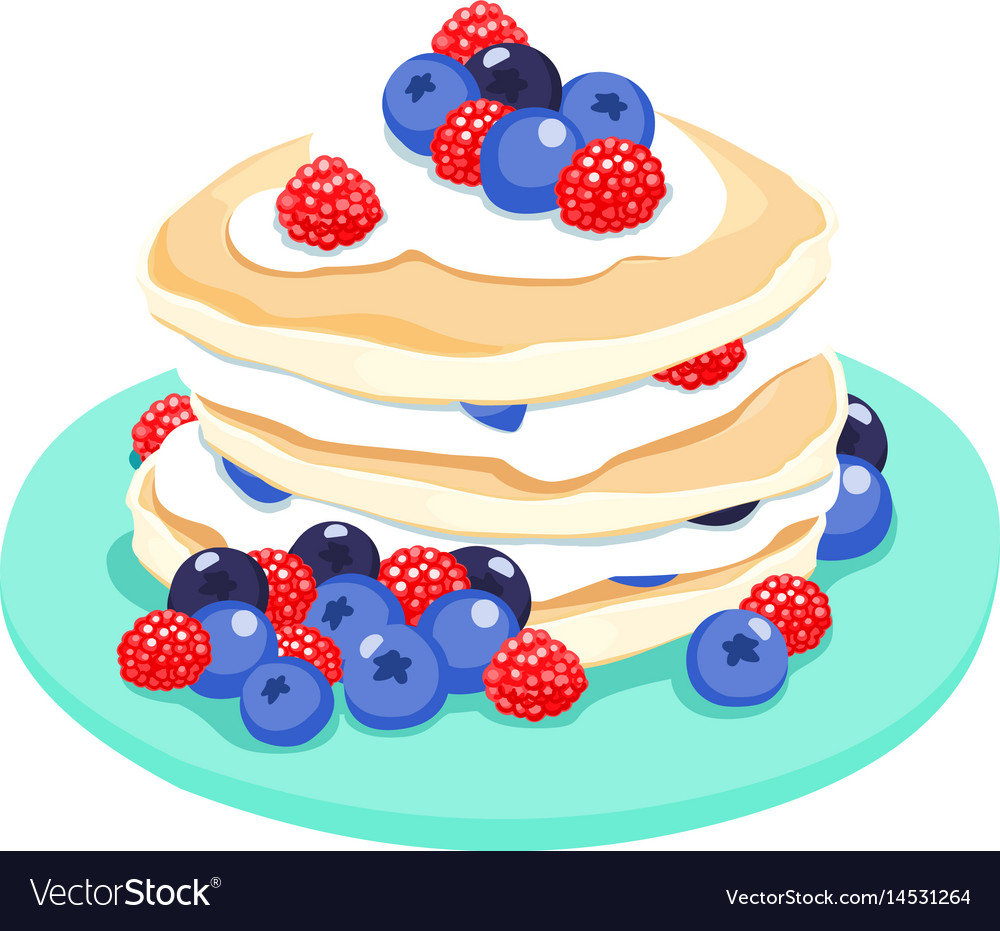 Mixed berry pancake vector image