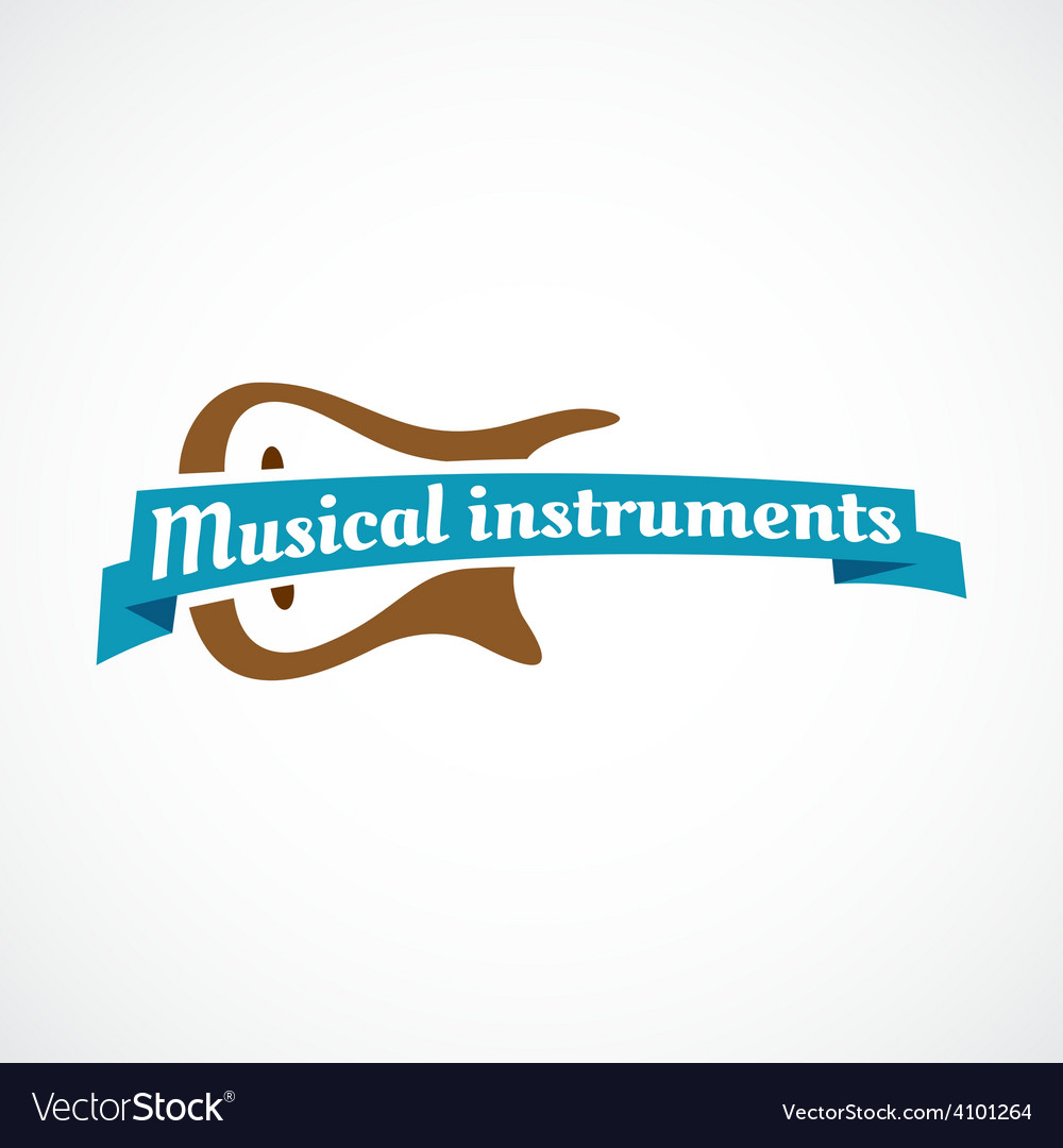 Musical logo Guitar silhouette with ribbon and
