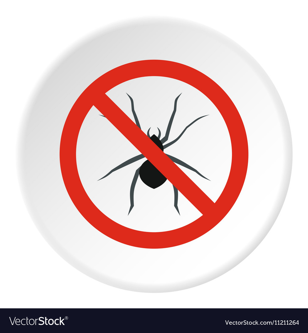 Prohibition sign spiders icon flat style