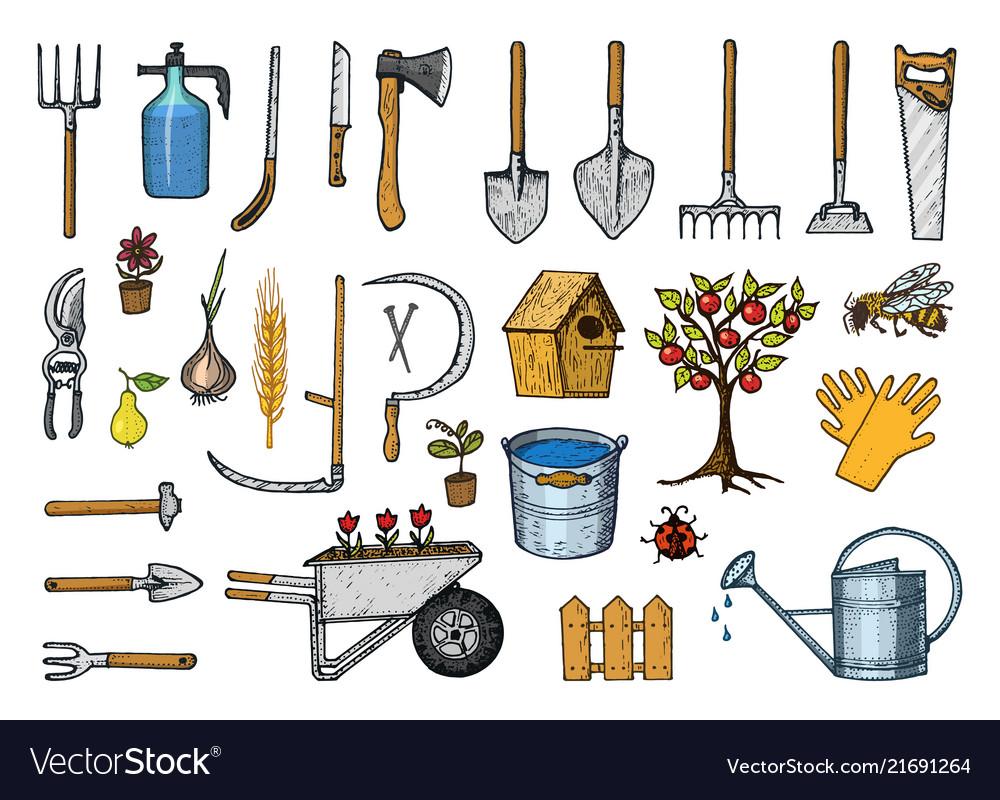 Set of gardening tools or items hose reel fork