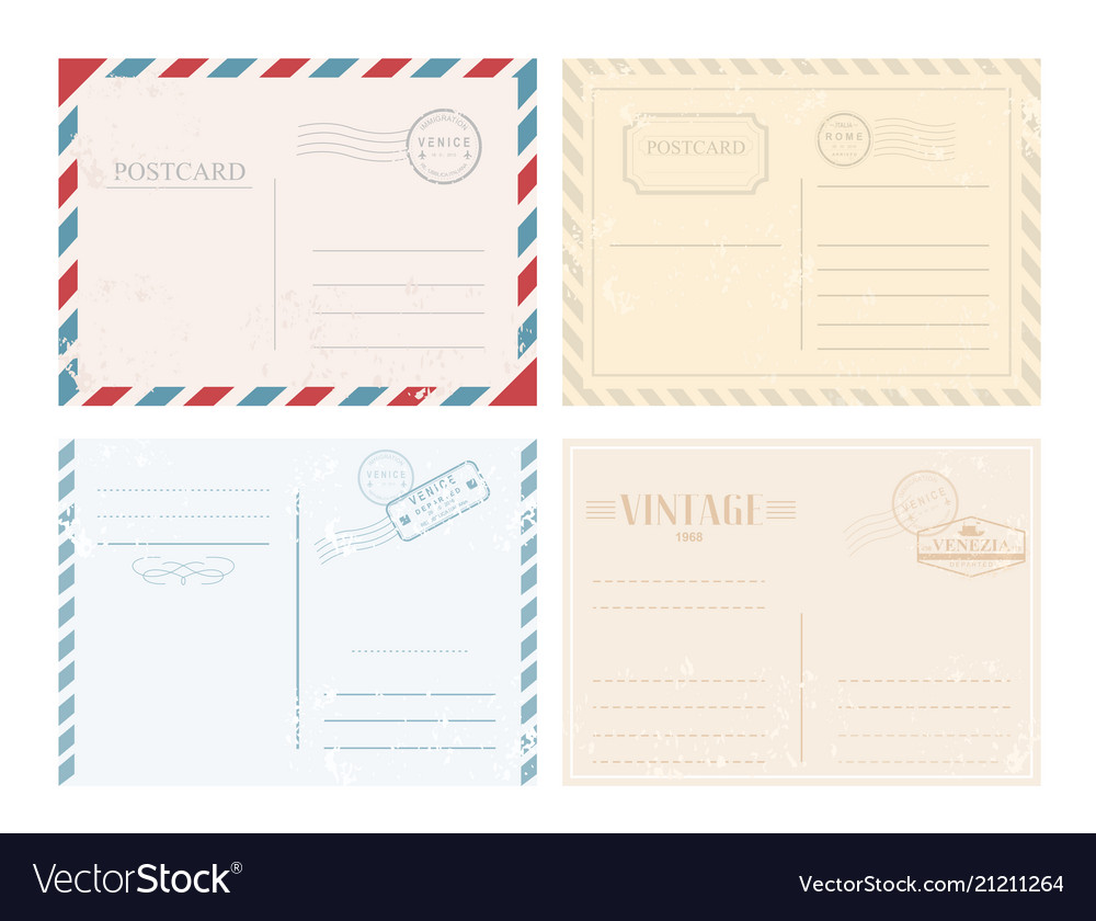 Set postcards with stamps
