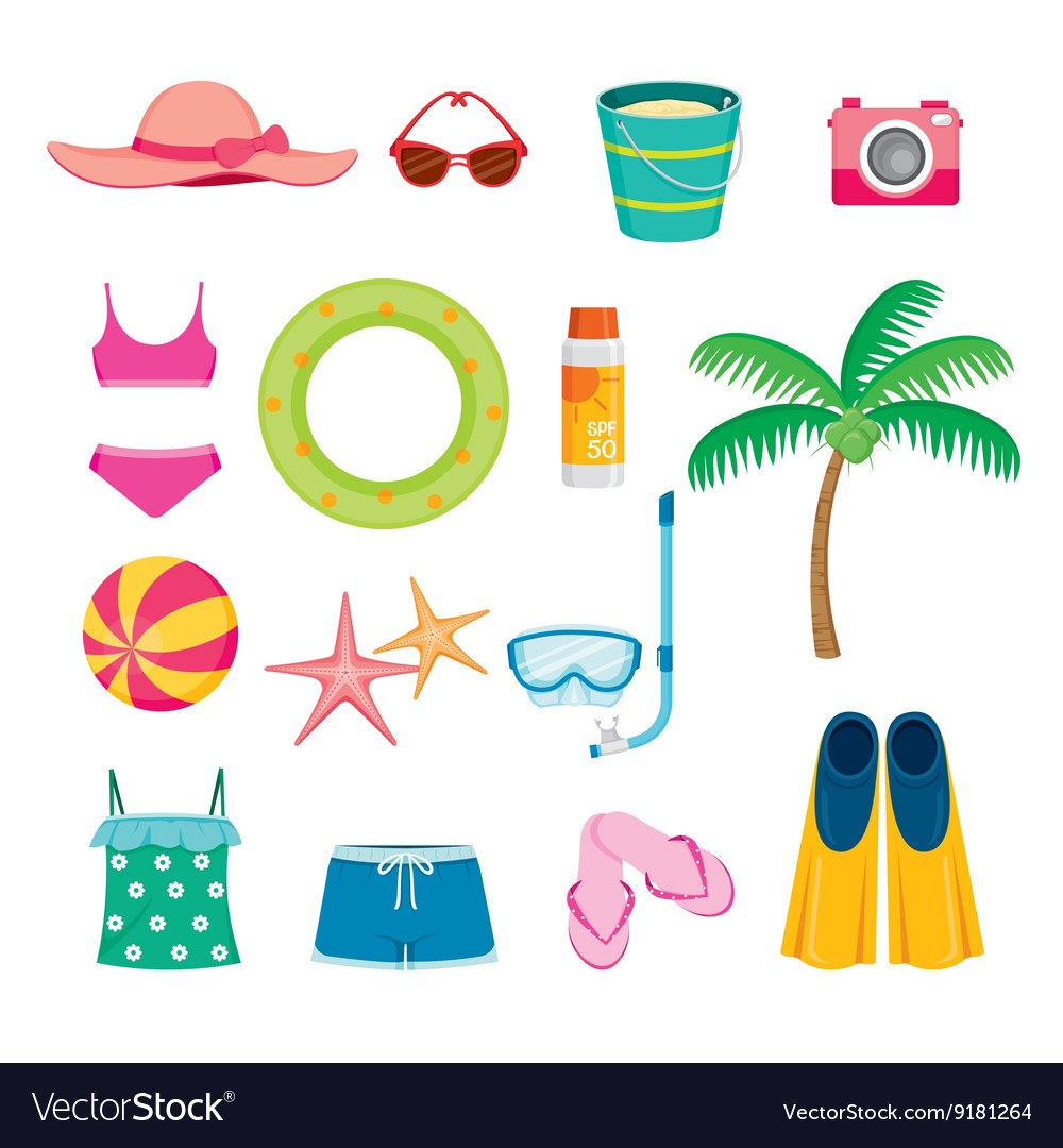 Summer Objects Icons Set vector image