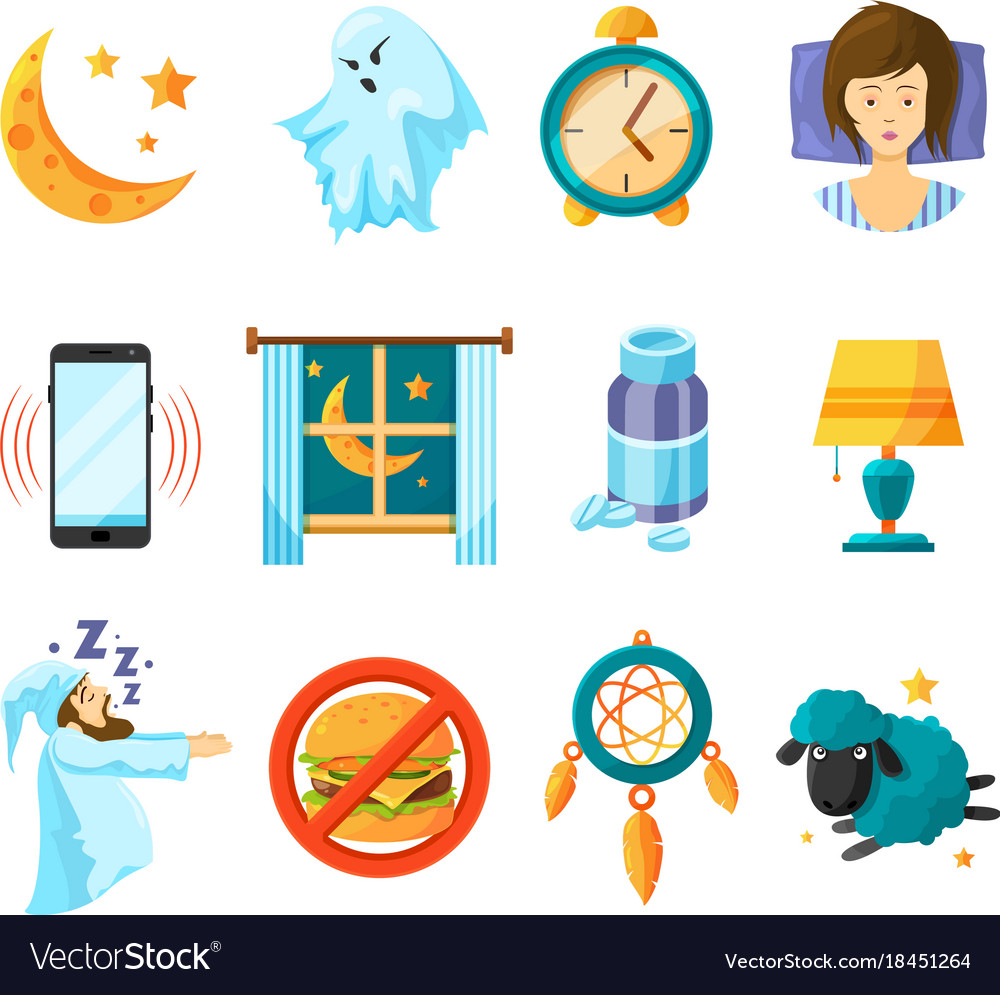 Symbols of night sleeping icon set insomnia