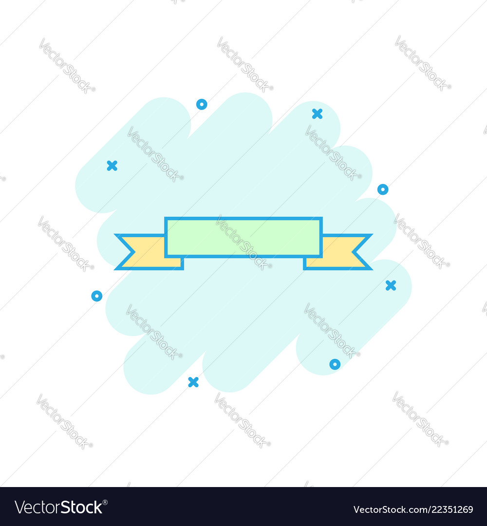Cartoon colored badge ribbon icon in comic style
