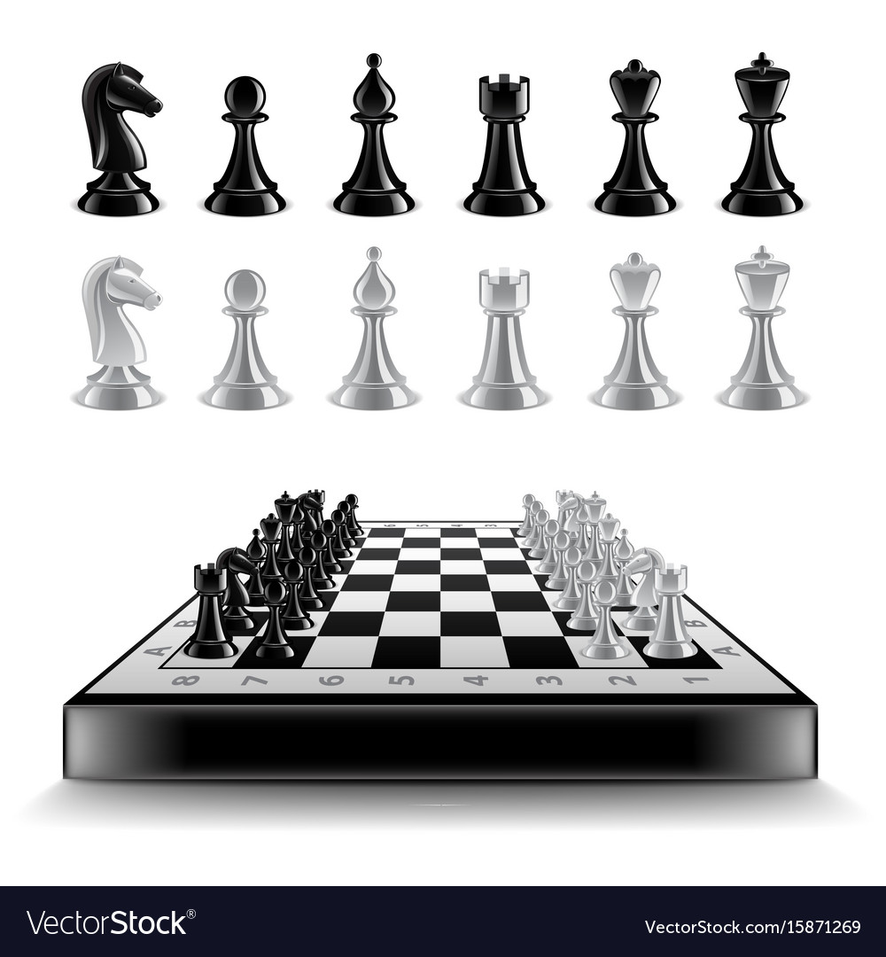 Chess board with figures isolated on white