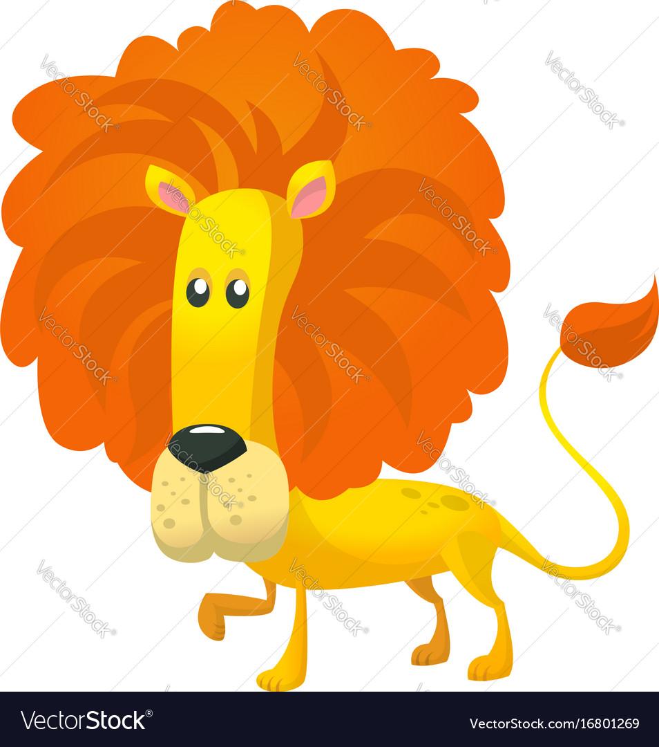 Cute cartoon lion character wild animal