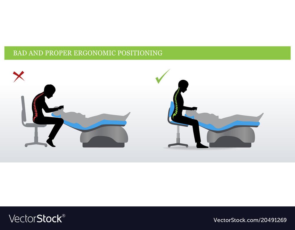 Dental ergonomics wrong and correct sitting pose