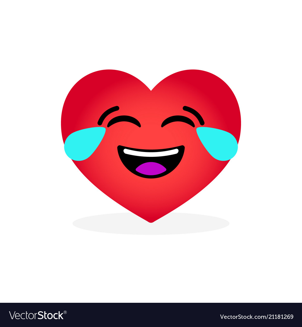 Funny laughing heart emoticon emotional icon