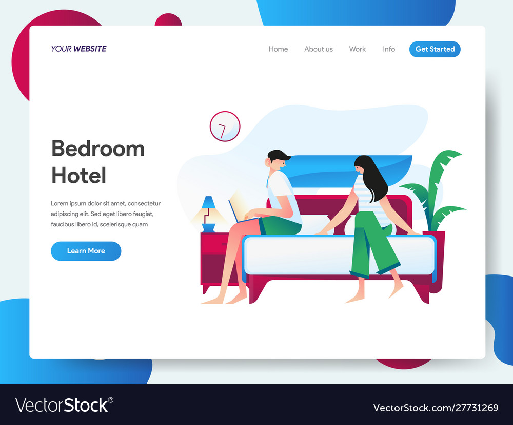 Landing page template hotel bedroom concept