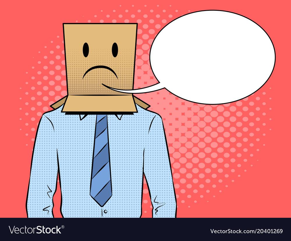 Man with box sad emoji on head pop art