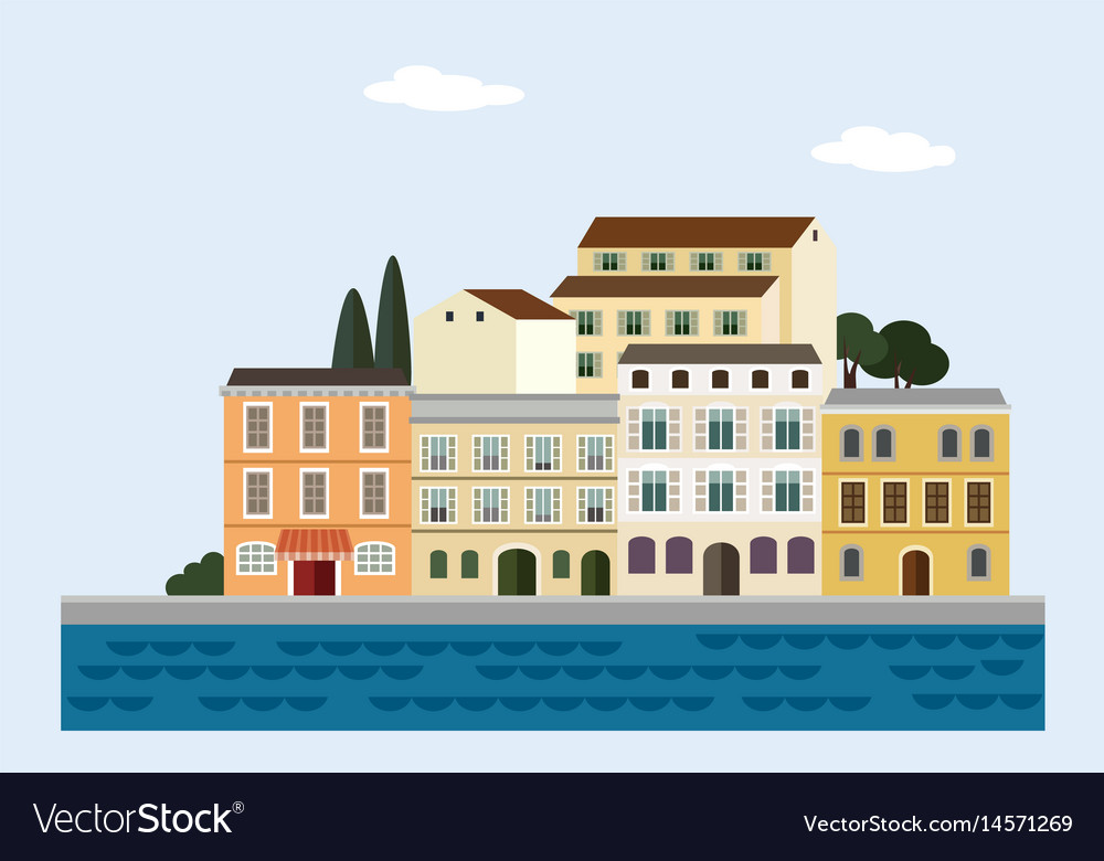 Mediterranean landscape by sea italian or
