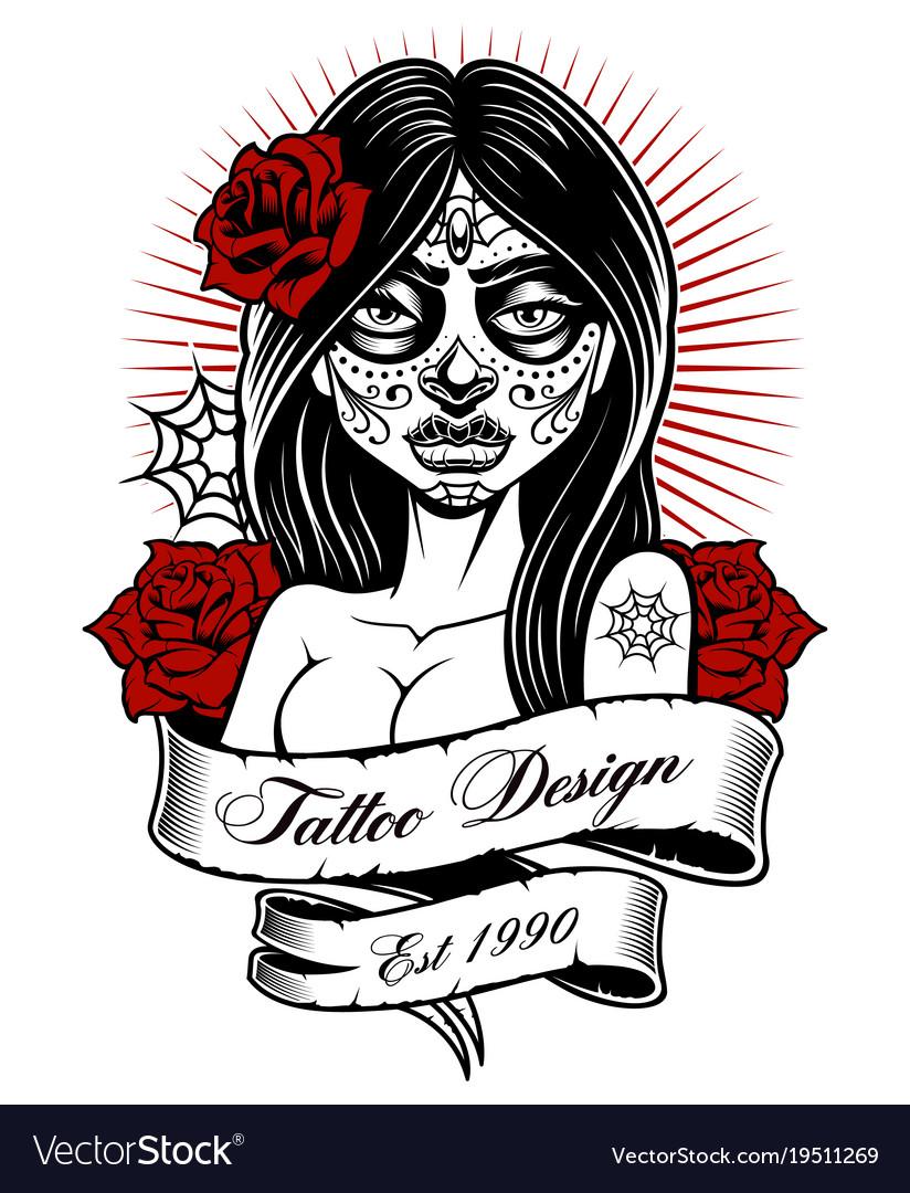Tattoo girl monochrome version