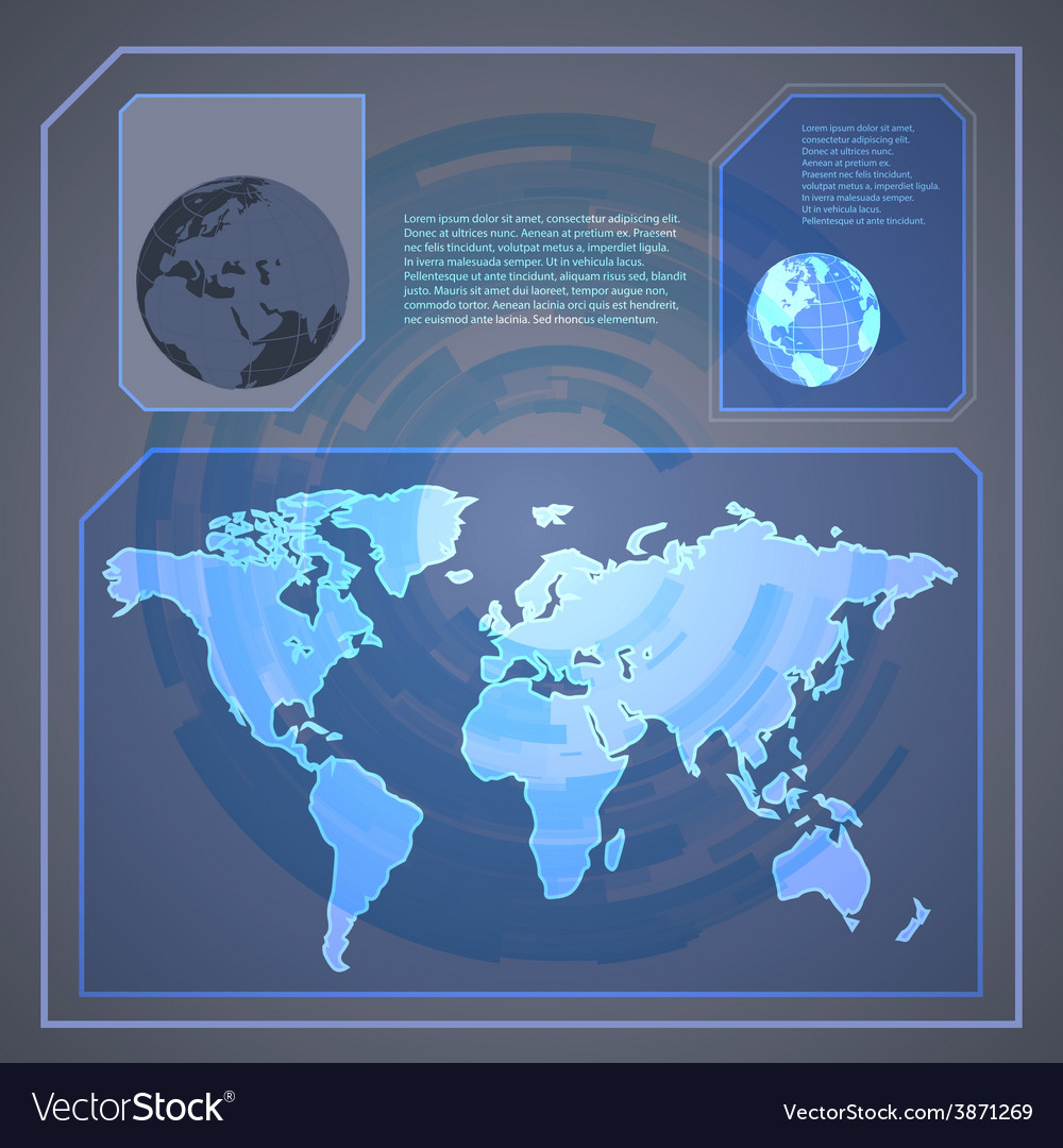 Technology holographic background with world map
