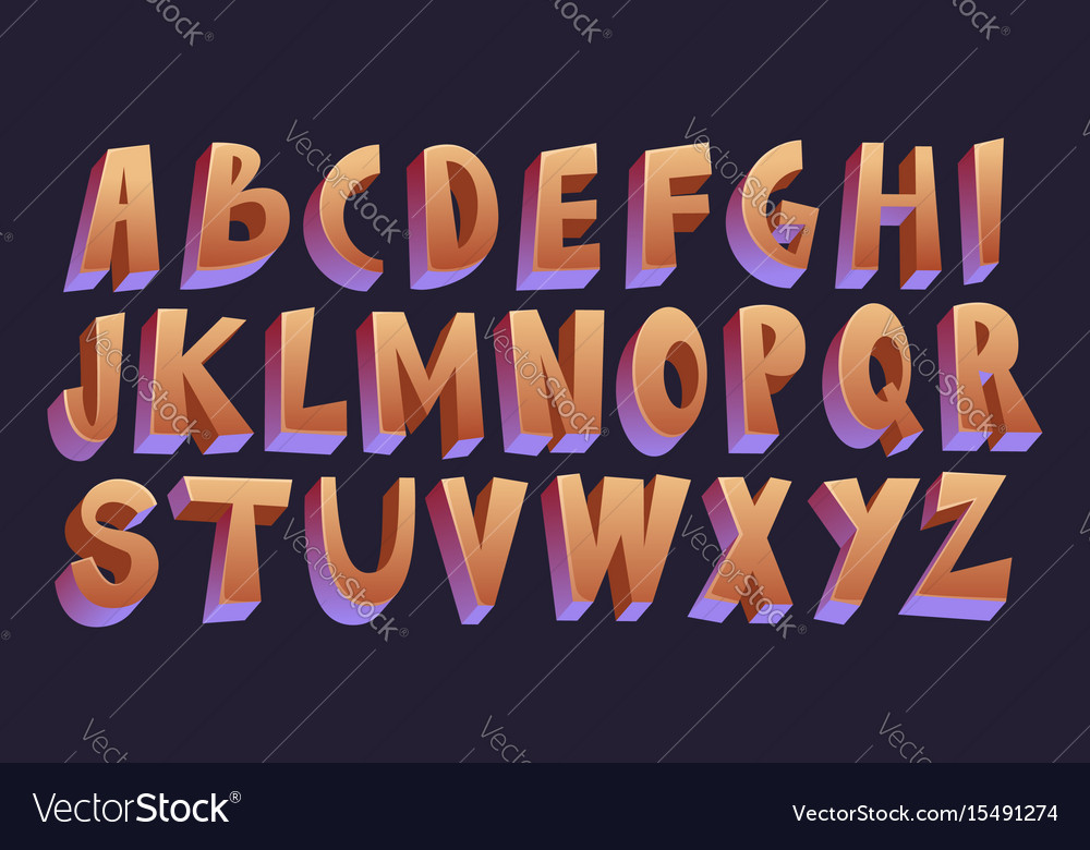 3d cartoon font vector image