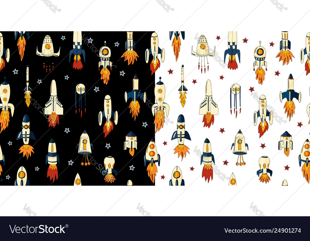 A seamless pattern rockets