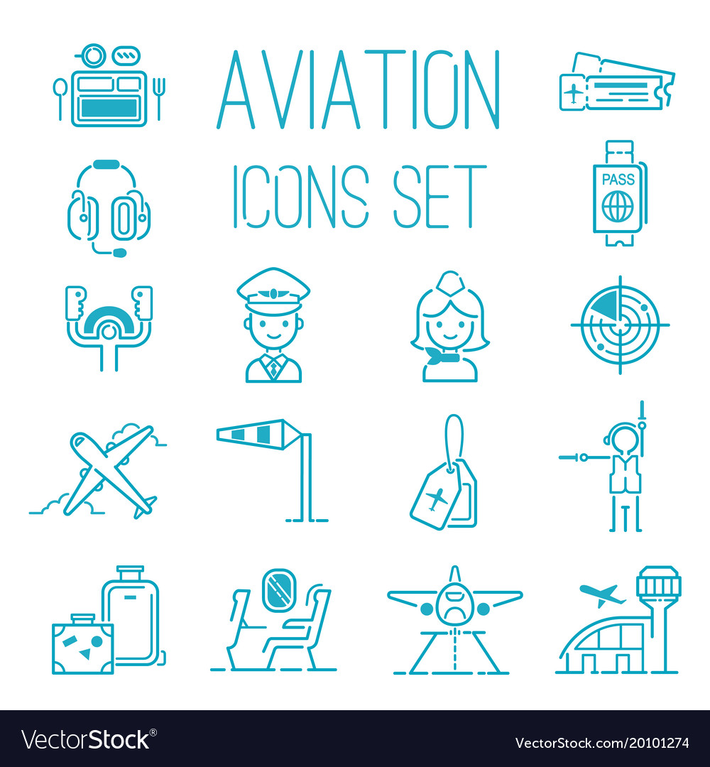 Aviation icons set airline graphic
